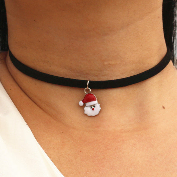 Black Velvet Suede Leather Pendant Necklace - Yogini Yoga Wear
