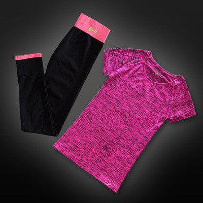 Two Piece Set -  Yoga T-Shirt And Capris - Yogini Yoga Wear