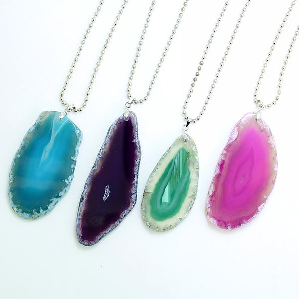 Drusy Natural Agate Pendant Necklaces - Yogini Yoga Wear