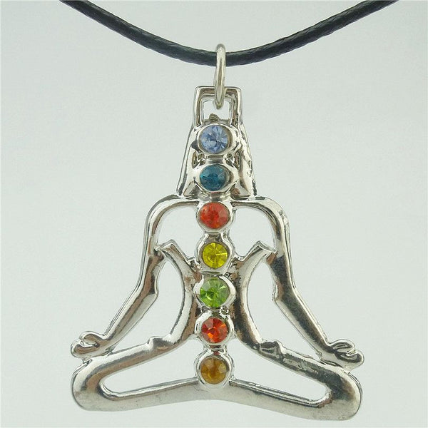 "Rhinestone Alloy Silver Chakra Pendant Buddha Yoga Meditation Crystal 17"" Necklace - Yogini Yoga Wear"