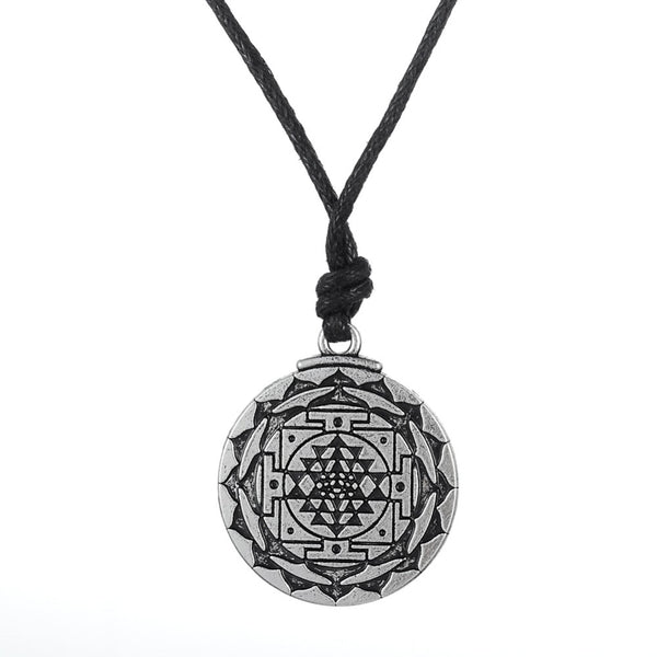 Sri Yantra Tantric Yoga Leather Cord Necklace - Yogini Yoga Wear