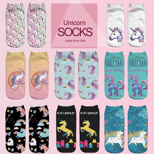 Emoji Unicorn Funny Low Cut Ankle Short Socks - Yogini Yoga Wear