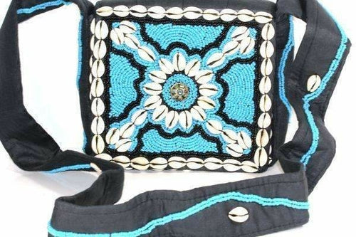 Turquoise Beach Vintage Cowrie Shell & Bead Work Cross Body Purse