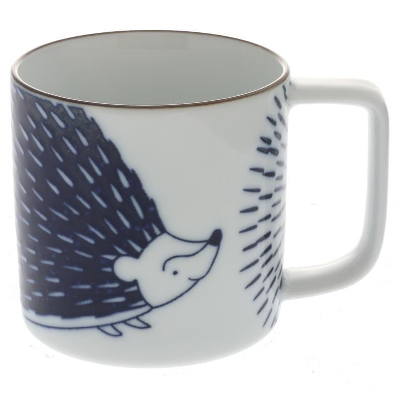 Mug Blue and White Hedgehog