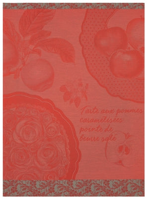 Tart aux Pommes Red Tea Towel