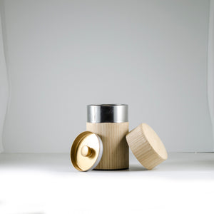 Oak Natural Wood Covered Canister 100g