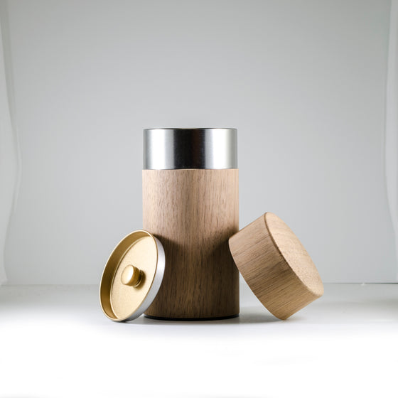 Walnut Natural Wood Covered Canister 200g