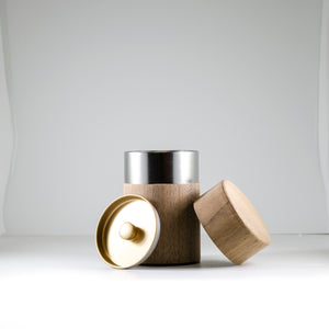 Walnut Natural Wood Covered Canister 150g