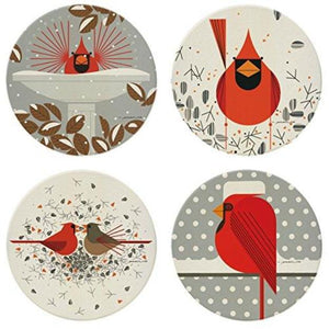 Charley Harper's Cardinal Stone Coaster Set with Wooden Display Holder