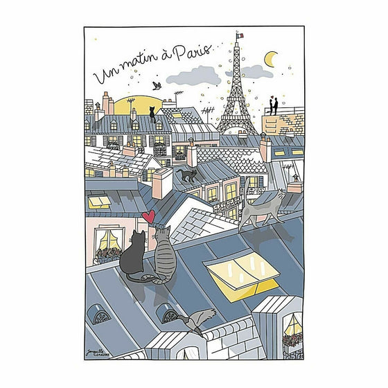 A Morning in Paris Dish Towel