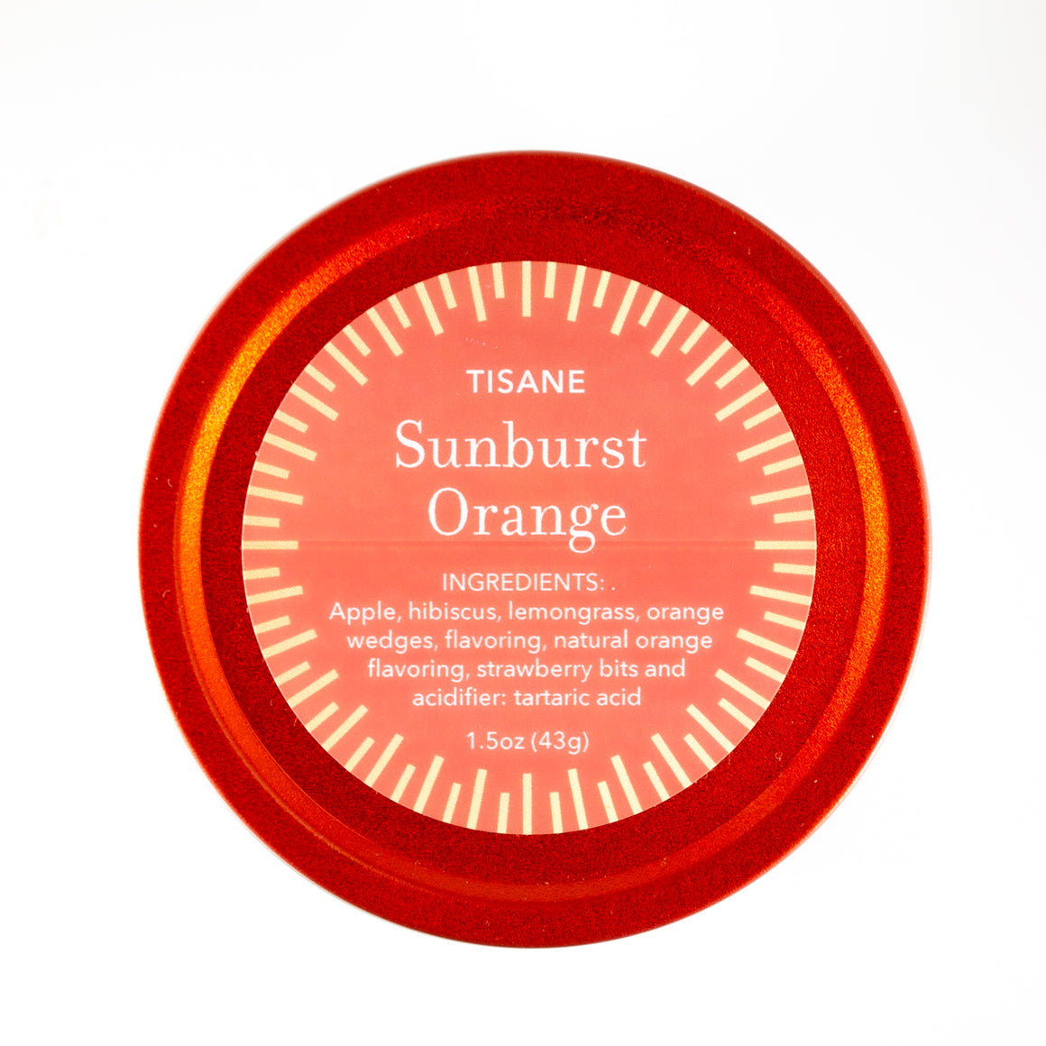 Sunburst Orange in Ripple Red Tin