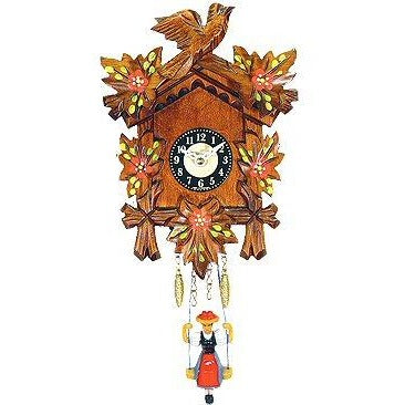 Black Forest Carved Clock:<br>Swinging<br>Black Forest Girl<br>with Red Flowers