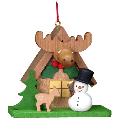 Snowman in Elk House, Ulbricht Christmas Ornaments - SavvyNiche.com