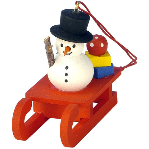 Snowman on Sled, Ulbricht Christmas Ornaments - SavvyNiche.com