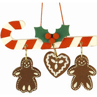 Candy Cane with Hanging Gingerbread Cookies, Ulbricht Christmas Ornaments - SavvyNiche.com