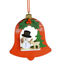 Snowman with deer in Red Bell, Ulbricht Christmas Ornaments - SavvyNiche.com