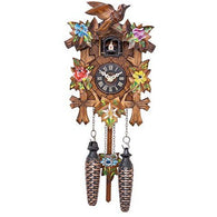 Quartz Cuckoo Clock with Painted Five Leaves & Bird