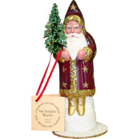 Red Coat Santa with Gold trim, Christmas Paper Mache - SavvyNiche.com