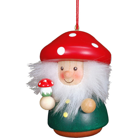 Wood Ornament Mushroom Man, Ulbricht Christmas Ornaments - SavvyNiche.com