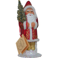 Red Coat Santa with Gold Boots, Christmas Paper Mache - SavvyNiche.com