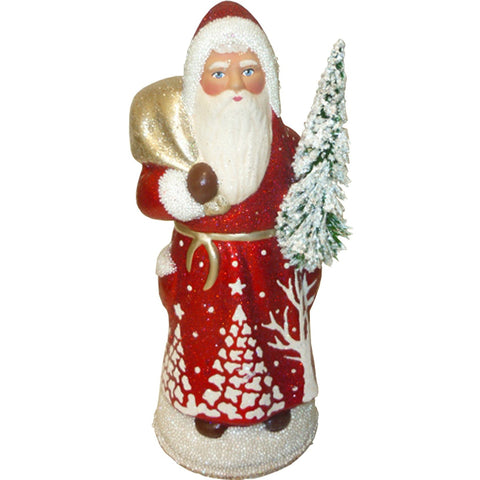 Santa with sack of toys and tree, Christmas Paper Mache - SavvyNiche.com