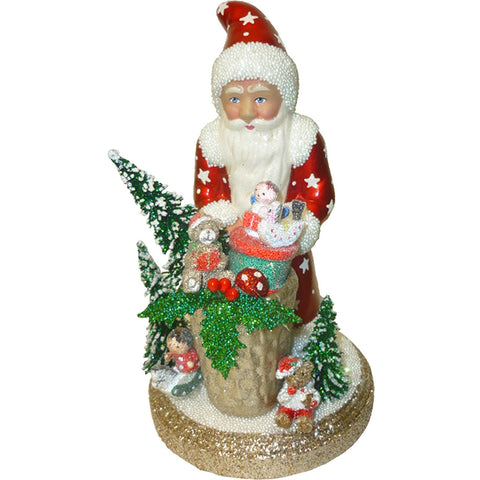 Santa with basket of toys, Christmas Paper Mache - SavvyNiche.com