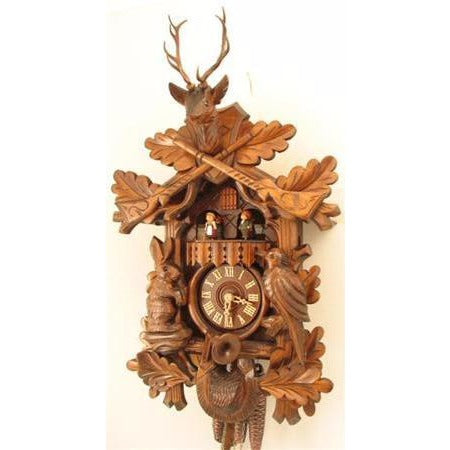 Hunter Cuckoo Clock<br>Hunter with Dancers</font><br>1 Day Movement<br>Musical
