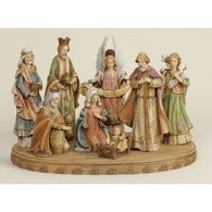 8 Piece Nativity Set on Base, Christmas Nativity Figurine Scene Sets - SavvyNiche.com
