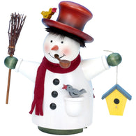 Snowman with Broom and Birdhouse, Ulbricht German Christmas Smokers - SavvyNiche.com