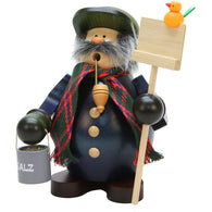 Snow shoveler holding a salt bucket, Ulbricht German Christmas Smokers - SavvyNiche.com