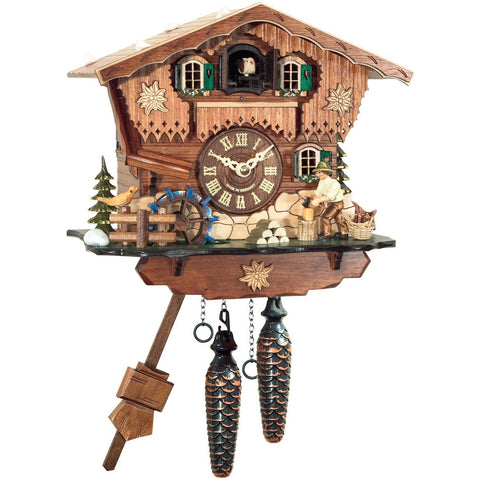 Battery Cuckoo Clock Wood Chopper, Quartz Chalet Cuckoo Clocks - SavvyNiche.com