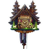 Colorful Exquisite Chalet Cuckoo Clock - Hiking Sheep Herder, 1 Day Chalet Cuckoo Clocks - SavvyNiche.com