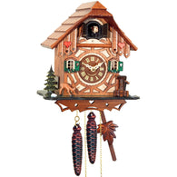 German Chalet Cuckoo Clock - Carved Deer, Tree, Hearts, 1 Day Chalet Cuckoo Clocks - SavvyNiche.com