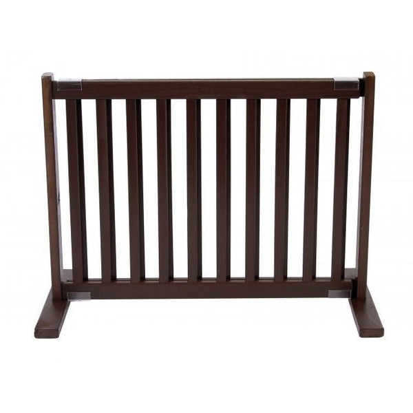 "Small Free Standing Wood Pet Gate - 20"" Mahogany"