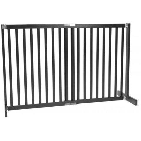 "Small Pet Dog Gate Free Standing Wooden Pet Gate - 30"" Black"