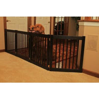 "Extra Wide Dog Gate Free Standing Wooden Pet Gate - 27"" Black"