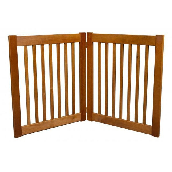 "Dog Gate Free Standing Wooden Pet Gate 27""- Artisan Bronze"
