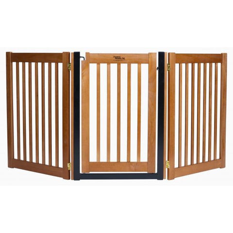 Dog Gates Walk Through Door Free Standing Wood Pet Gate 32""