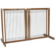 "Small Dog Gates Free Standing Wood/Wire Pet Gate - 30"" Artisan Bronze"