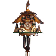 Chalet Cuckoo Clock Wood Cutter German Cottage Scene, 1 Day Chalet Cuckoo Clocks - SavvyNiche.com