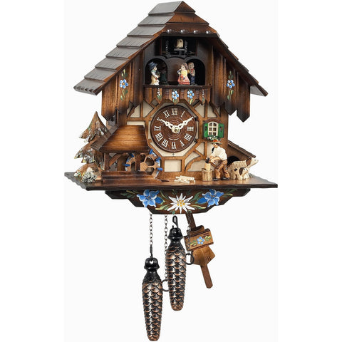 German Cuckoo Clock Wood Chopper Scene, 1 Day Musical Chalet Cuckoo Clocks - SavvyNiche.com