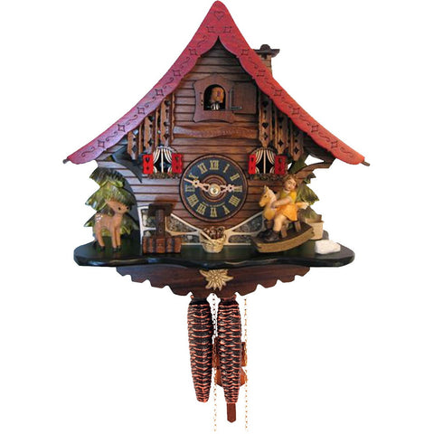 German Chalet Cuckoo Clock Colorful Meticulous Rocking Horse Girl, 1 Day Chalet Cuckoo Clocks - SavvyNiche.com