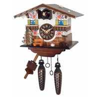 Battery Cuckoo Clock White Cottage with 12 Melodies