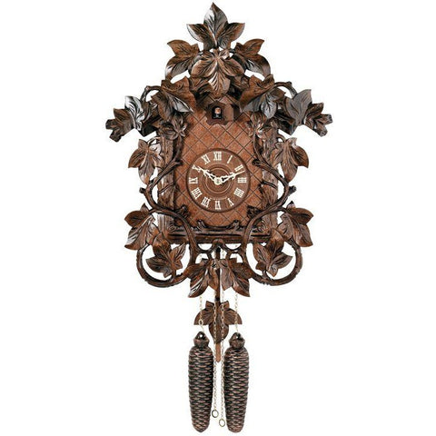 Eight Day Cuckoo Clock with Hand-carved Vines and Leaves, 8 Day Cuckoo Clocks - SavvyNiche.com