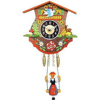 Black Forest<br>Chalet Clock:<br>Swinging<br>Black Forest Girl