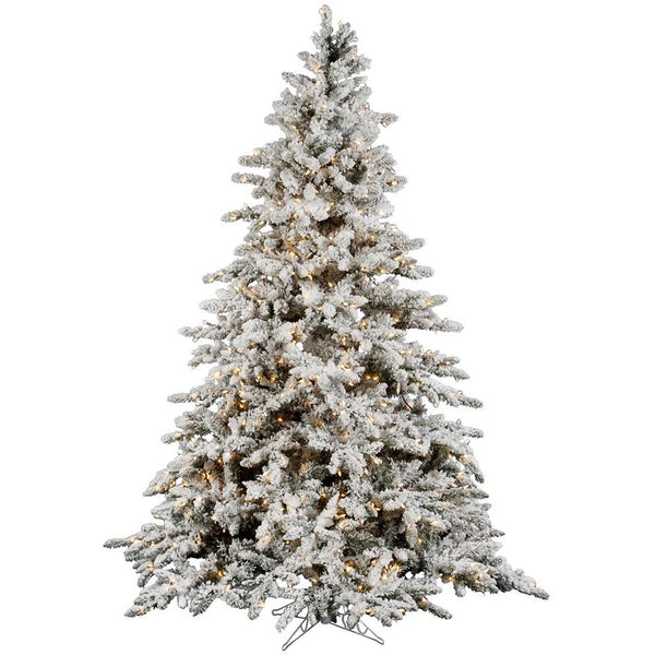 7.5 FT Flocked Christmas Tree Pre Lit