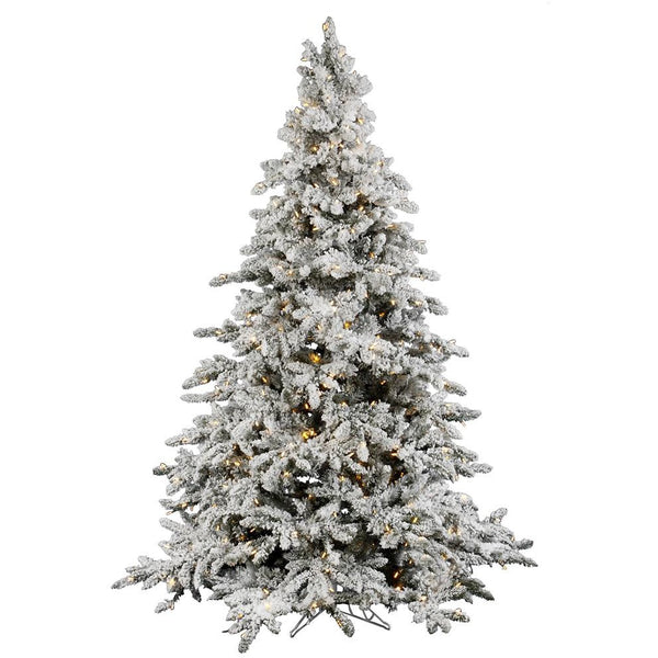 Wide Flocked Artificial Christmas Trees