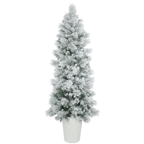 7 ft unlit potted artificial christmas flocked tree - Potted Artificial Christmas Trees