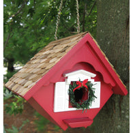 Birdhouse Christmas Wren Cottage - Red