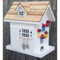 Bird Feeder Potting Shed - White